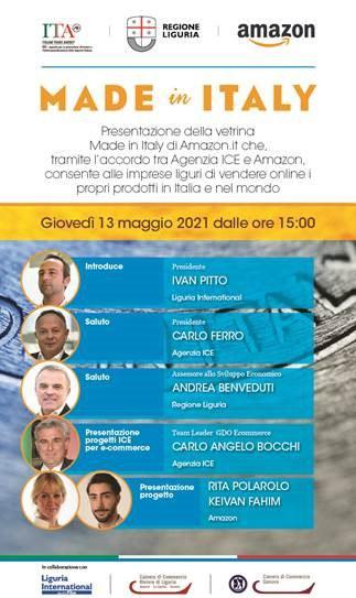 13 maggio 2021 - webinar di presentazione dell'accordo ICE-Amazon per la vetrina Made in Italy